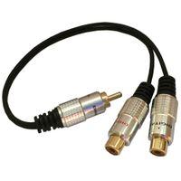 audio y adapter rca großhandel-0,25 m vergoldet 1 RCA Stecker auf 2 RCA Buchse Jack Y Splitter Audio Adapter Kabel