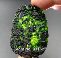 ingrosso nero giada scolpito ciondolo drago-All'ingrosso-cinese naturale verde nero giada intagliato Lucky Dragon Phoenix pendenti + collana di corda pendente ciondolo giada all'ingrosso