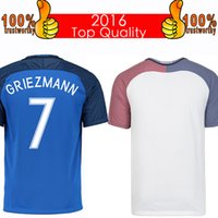Wholesale Thai Soccer Shirts Free Shipping - Top 2016 French Soccer Jersey 2016 French Home Blue Away White Football Shirt Benzema Griezmann Giroud Jerseys Thai Quality Free Shipping