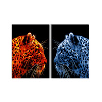 Wholesale Frames Fire - 1 PCS Modern Wall Art Picture Fire Leopard vs Ice Leopard Canvas Painting Aniaml Spray Print Decorations for Living Room