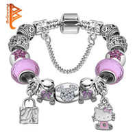 Lovely Girls Jewelry Silver Plated Women Pulsera Pink Blue Murano Glass Beads Crystal Hello Kitty Charms Pulsera para Mujeres