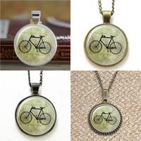 Wholesale bicycle link bracelet - 10pcs Vintage bicycle Glass Photo Necklace keyring bookmark cufflink earring bracelet