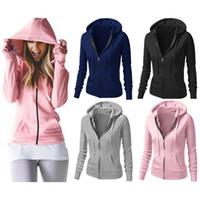 Wholesale Outwear Jacket Popular Tops - Wholesale- Womens winter Long Sleeve Zip Slim Jacket Suit Coat Outwear Tops Sweatshirt 2017 popular lady autumn winter fashion tops casual