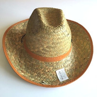 Wholesale Australian Wholesalers - 2017 Summer Unisex Western Handmade Australian Cowboy Straw Sun Hat Men Beach Wide Color Brim Cowgirl Cap 10pcs lot