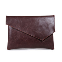 Wholesale Black A4 Bag - England Style New Leather Men Envelope Handbag Vintage Clutch Brown Black Large A4 Briefcase Ipad Business Bags Free Shipping