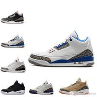 Wholesale Thanksgiving Basketball Shoes Discount - high quality air retro 3 Cyber Monday mens basketball shoes 3s True Blue discount shoes wolf grey sports shoes mens sneakers size 8-13