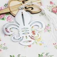 Wholesale book tassels resale online - Flower De Luce Bookmark Creative Design Metal Pendant Delicate Craft Book Marker With Tassel Party Favor Wedding Gifts tza F R