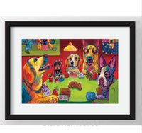 Wholesale Canvas Dog Art - Dogs Playing Poker Art HD Print Oil Painting On Canvas Wall Art Unframed Abstract Pictures Home Decor