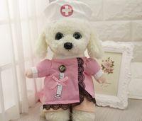 Wholesale Hot Dog Hat - Funny Nurse Suit Pet Costume Dog Clothes Pet Cat Coat Party Clothing for Dogs Hot Puppy Nurse Uniform + Hat Attire