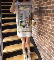 Wholesale Dress Women Cartoon Print - free shipping 2017 Summer new love Mos cute cartoon villain printed pattern loose long T-shirt dress