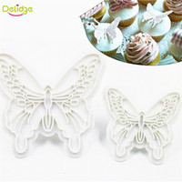 Wholesale Wedding Fondant Molds - 2 pcs set Butterfly Shape Cake Mold 2 Sizes Food-Grade Plastic Fondant Decorating Cookie Plunger Cutters DIY Baking Molds