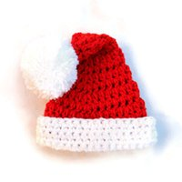 Wholesale Toddler Crochet Santa Hat - Handmade Knit Crochet Baby Santa Hat,Red Xmas Baby Boy Girl Christmas Pompom Hat,Newborn Infant Beanie,Toddler Photography Prop