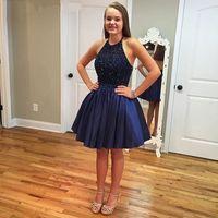 Wholesale Blue Sequin Mini Dress - Cute Mini Short Homecoming Party Dresses Halter Neck Beaded Navy Blue 8th Grade Graduation Dresses vestido de fiesta
