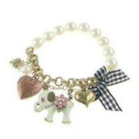anel de pulseiras de arco venda por atacado-Retro Imitação de Pérolas Elefante Pulseira Anéis Bow Coração Pulseiras Moda Frisado Jóias para Lady Presente de Natal