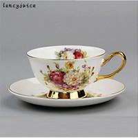 kemik çini kupaları setleri toptan satış-Gül Kemik Çini Kahve Fincanı Set Seramik Çay Kupa Avrupa Tarzı Kraliyet Klasik Drinkware Yaratıcı Hediye