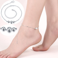 Wholesale Beautiful Sports Girls - Beautiful Three Ball Anklets Women Fashion Jewelry 925 Sterling Silver Plated Chain Bracelet High Quality Female Exquisite Sexy Anklets Gift