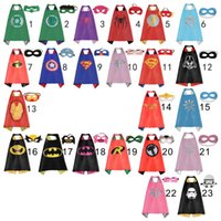 Wholesale Wholesale Party Costumes - Gold Hands Kids Superhero Capes And Mask Double Side Party Costume 70*70cm Capes Set 1Cape+1 Mask