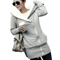 Wholesale Manteau Hoodies - Mode Femmes Hoodies Hiver Automne Chaud Polaire Coton Manteau Zip Up Survêtement Sweats À Capuche Costume Casual Longue Veste