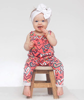 Wholesale Hot Girls Cotton Jumpsuits - Baby Girls Heart Print Sleeveless Jumpsuits 2017 Kis Boutique Clothing Euro America Hot Sale Toddlers Infant Girls Vest Rompers Bodysuits