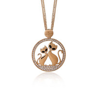 Wholesale Gold Couple Necklaces - Love Couple Cats Necklace Women Multi Chain Crystal Silver Rose Gold Plated Round Animal Pendant Long Necklaces Jewelry XL07372