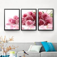 3Pcs / set Pink Rose Wall Art Canvas Posters e impressão de flores Wall Print Wall Pictures Cuadros Sem quadro de cartaz HD2128
