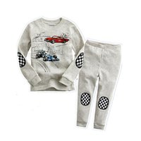 Wholesale Car Racing Girls - Grey Racing Car Cartoon Baby Pajamas Suit Girls Clothing Set Baby Boys Sleepwear 100% Cotton Polka Dot Children Nightdress Home