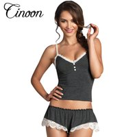 Wholesale Sexy Pijamas Camisole Panties Sets V Neck Cotton Bundle Pajamas Women s Sleepwear Spaghetti strap lace Underwear