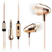 Wholesale Earphone Bullet - Luxury Metal Golden Bullet Earphones Earbuds HIFI Stereo Super Bass Headset Sport Running Headphones With Mic