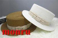 Wholesale Bead Sun - Wide Brimmed Jazz Panama Hat Lace belt Spring Summer Hats For Women Flower Beads Chapeu Feminino Sun Visor Beach Hat Cappello