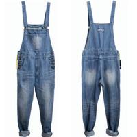 Wholesale Blue Jean Overalls Men - Wholesale- Men Spring Autumn Jeans Overall Casual Royal Blue Light Blue Plus Size Mens Bib Pants Skinny Jean Overall Vintage Pants S-5XL
