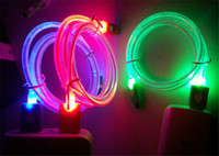 Wholesale Visible Led Flashing Usb Charging - Micro USB V8 Visible Charger Cable LED Color Light Data Flashing 1M Charging Cords for Andriod Phone ap 5 phone