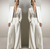 Wholesale White Winter Jackets Bride - 2018 White Three Pieces Mother Of The Bride Pant Suits For Silver Sequined Wedding Guest Dress With Jackets Plus Size