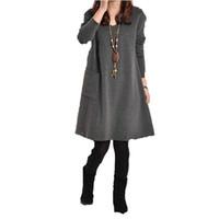 Wholesale Cotton Maternity Dresses Pattern - Maternity Autumn Winter Long Blusas 2017 Women Long Sleeve Pocket Dress Solid O Neck Casual Loose Dresses Vestidos Plus Size S-5XL