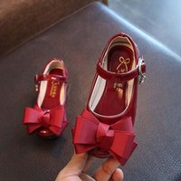Wholesale Leather Girl Dance Wear - Cheap Big Bow leather Girls dancing shoes Fashion Children Dress Shoes Party princess Toddler Shoes Kids Footwear Girls wear A959