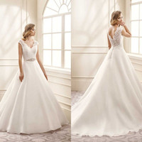 Wholesale Discount Bridal Gown Sashes - Simple Design A Line V Neck Sweep Train Ivory Organza Lace Wedding Dresses Sheer Back Crystal Belt Discount Bridal Wedding Gowns