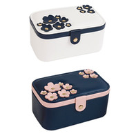 Wholesale Stylish Cosmetic Bags - New Hot Cosmetic Cases Beautiful Flower Professional Cosmetics Storage Box Jewelry Case Stylish Women Makeup Bag