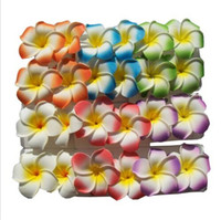 Wholesale Hawaiian Flowers For Hair - Wholesale-12pcs mixed color Hawaiian Foam Flower Bridal Wedding Party Hair Clip White Plumeria 9cm dia for size