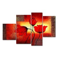 Wholesale Lily Flower Wall Canvas - 4pcs set 100% Hand-Painted Oil Paintings Flora Plant Flower Lily Modern Abstract Canvas Living Room Office Wall Art Home Decoration