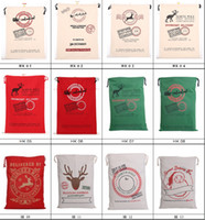 Wholesale christmas santa sacks - 2017 Christmas Large Canvas Monogrammable Santa Claus Drawstring Bag With Reindeers, Monogramable Christmas Gifts Sack Bags