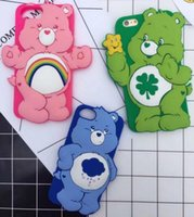 Ring Strap 3D Love-heart Bear Desenhos animados Soft Silicone Phone Cover Caso Rainbow Animal para iPhone 6 6s 6sPlus 8 Plus goophone i7