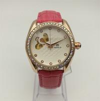 uhr diamanten porzellan großhandel-Mechanische Uhren Mode Marke Automatische Frau Leder Hohl Watc Billig Verkauf China Dekoriert Diamant Uhr Rosa Rose Gold