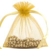 золотые подарочные сумки из органзы оптовых-100 шт. Золотой органзы ювелирные изделия подарочные сумки 9X12 см (3,5 х 4,7 дюйма) Drawstring мешки конфеты из органзы подарок