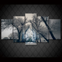 Wholesale Modern Abstract Painting Tree - 5 Pcs Set Framed HD Printed Winter Snow Tree Landscape Picture Wall Art Canvas Print Decor Poster Modern Canvas Oil Painting