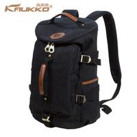 Wholesale Kaukko Canvas Bags - Wholesale- KAUKKO Large Capacity Shoulder Bag Mens Canvas Backpack Laptop Daypacks Unisex Bags for Teenager School Knapsacks Duffel Bags