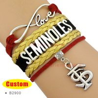 Wholesale Ncaa Wholesalers - Customizable Infinity Love NCAA Florida State Seminoles Wrap Bracelet Garnet Gold White Custom Any Bracelets - Drop Shipping