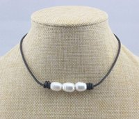 Wholesale White Leather Costume - cultured freshwater white Pearl Choker Necklace for women with Leather Cord Handmade Fashion Costume Beaded Jewelry