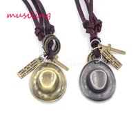 Wholesale Wholesale Hats Brass - musiling Jewelry Leather Necklace Pendant Cowboy Jewelry Cowboy Hat Accessories Metal Pendulum Amulet Hip Hop Boys Decorations Gifts