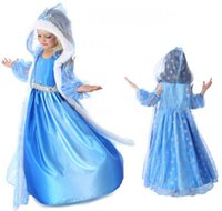 Davebella 4 6T Christmas Day New Snow Queen Elsa Anna Dress Hooded Cloak Girls Clothes Kids Cosplay Costume Wedding Halloween For