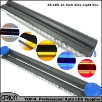 "Wholesale bar grille - 24"" 48 LED 144W Double side Car Truck Grille Flash Emergency Warning Strobe Light Bar Scanner Beacon Lamp Red Blue Amber White"