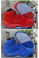 Wholesale Box V - Men Retro 5 V Raging Bull Red Suede Tongue Reflect Basketball Shoes Retro 5s Bull Blue Sneakers Shoes With Shoes Box